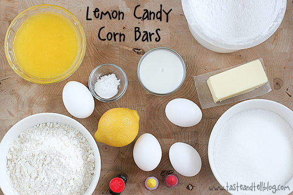 Lemon Candy Corn Bars | www.tasteandtellblog.com
