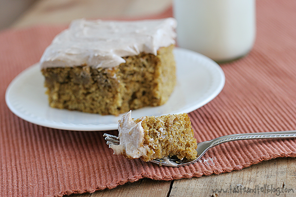 Pumpkin Cake with Cinnamon Cream Cheese Frosting - Taste and Tell