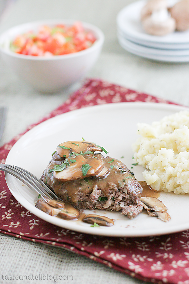 Mamas Salisbury Steak with Mushroom Gravy on Taste and Tell
