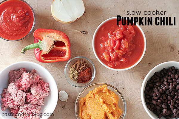 Ingredients for Slow Cooker Pumpkin Chili Recipe