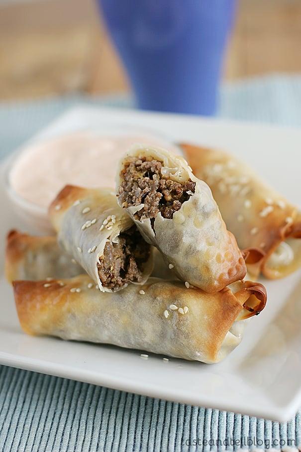 Cheeseburger Eggrolls | www.tasteandtellblog.com