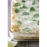 Cookbook of the Month Recipe:  Chicken, Black Bean & Zucchini Enchiladas with Creamy Green Chile Sauce