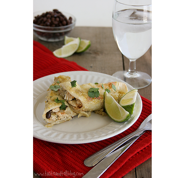 Chicken, Black Bean & Zucchini Enchiladas with Creamy Green Chile Sauce