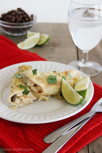 Chicken, Black Bean and Zucchini Enchiladas with Green Chile Sauce | www.tasteandtellblog.com