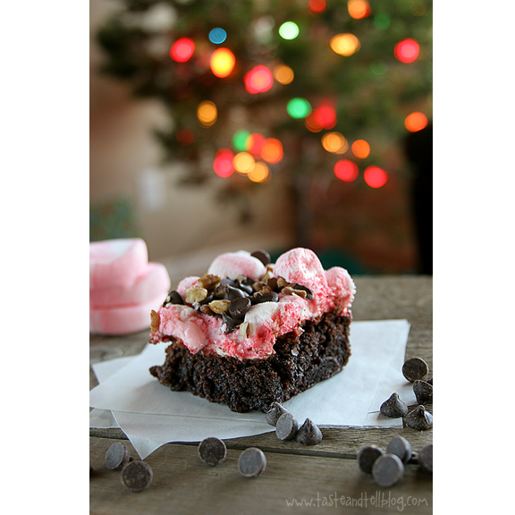 Peppermint Rocky Road Brownies