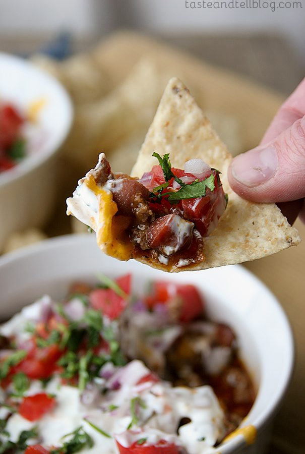 7-Layer Chili Dog Dip {Saturdays with Rachael Ray}