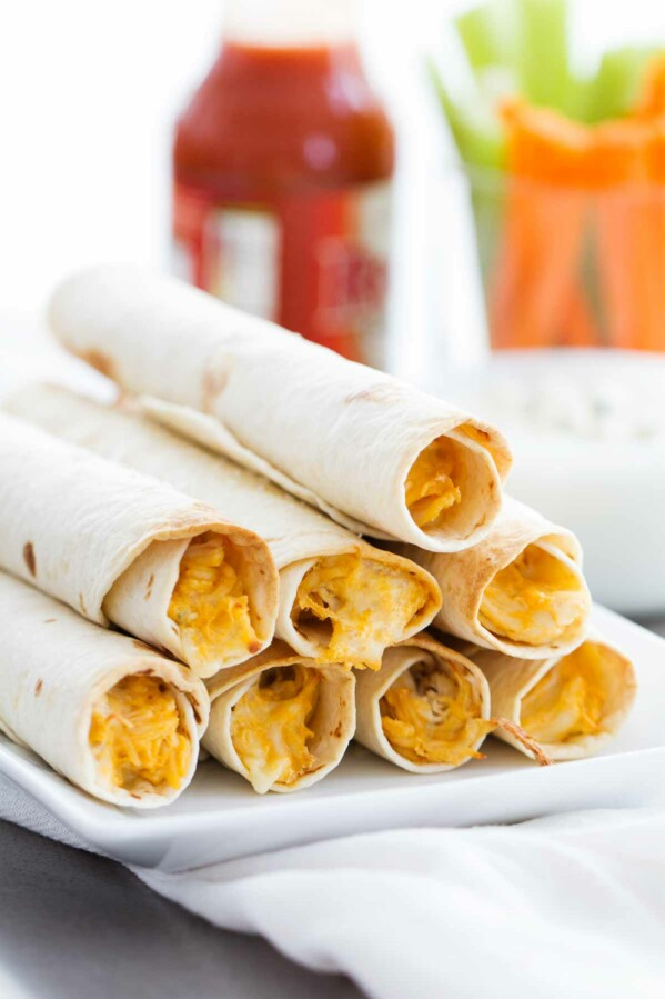 Perfect for the big game, or for a Friday night, any buffalo chicken lover will love these Baked Buffalo Chicken Taquitos!