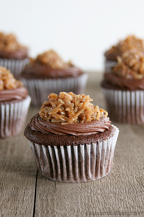 German Chocolate Cupcakes with Raspberry Filling | Taste and Tell