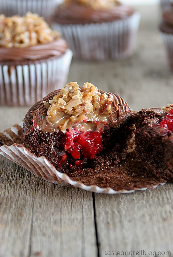 German Chocolate Cupcakes with Raspberry Filling