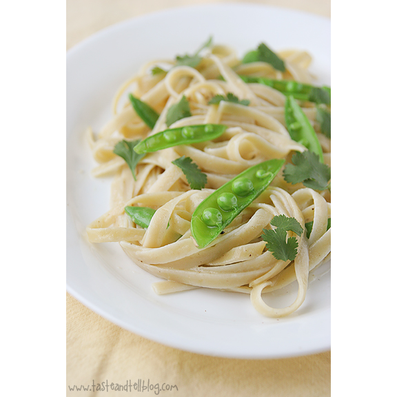 Chinese Noodles with Snap Peas and Wasabi Butter Sauce