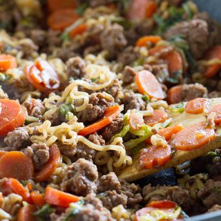 Take ramen to a new level with this easy, family friendly Ramen Vegetable Beef Skillet.