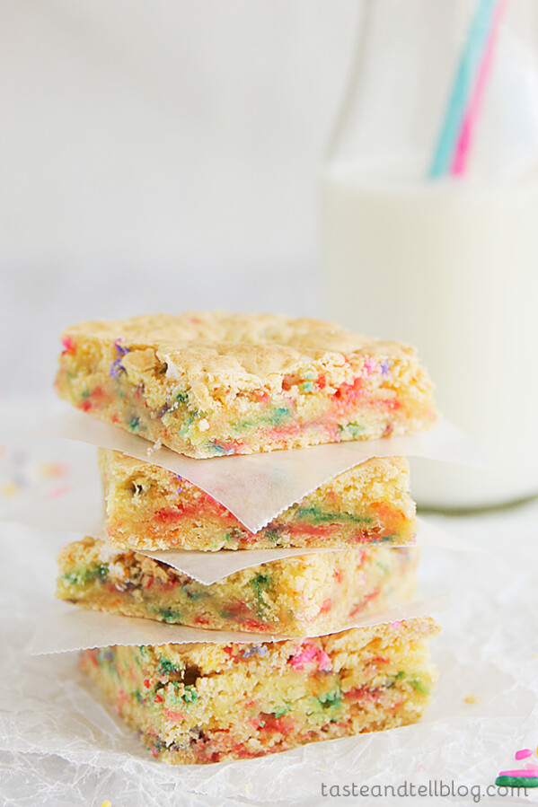 Cake Batter Blondies | www.tasteandtellblog.com