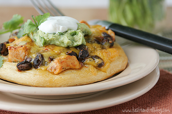 Chicken and Black Bean Tostizzas on Taste and Tell