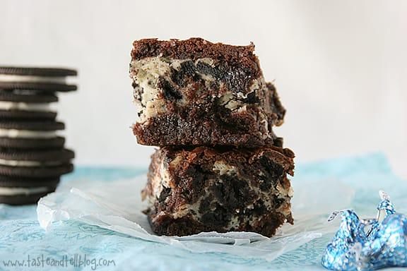 Cookies and Cream Cheese Brownies   www.tasteandtellblog.com