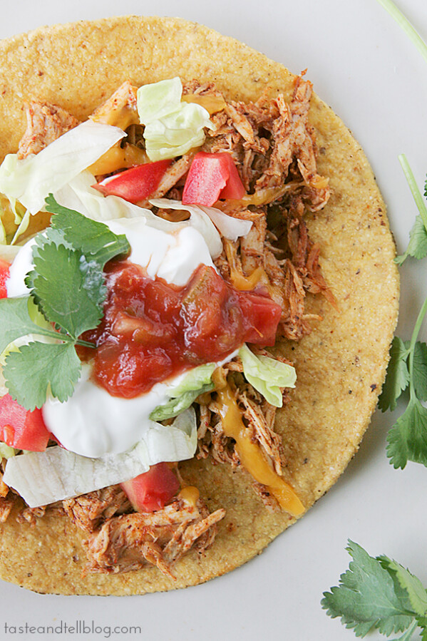 Slow Cooker Chicken Tostadas | www.tasteandtellblog.com