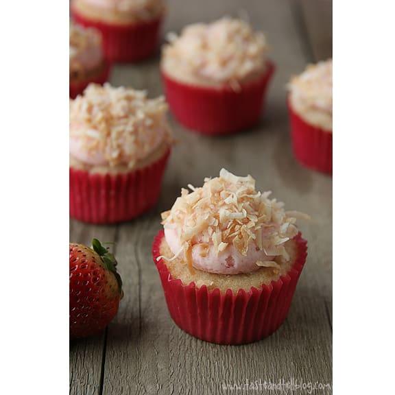 Strawberry Colada Cupcakes | www.tasteandtellblog.com