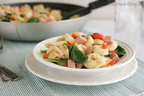 Brown Butter Tortellini with Spinach and Ham | www.tasteandtellblog.com