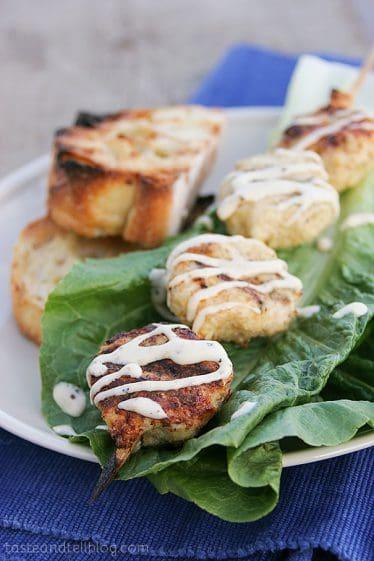 Chicken Caesar Kabobs   www.tasteandtellblog.com