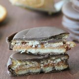 A little bit salty and a little bit sweet, these peanut butter and jelly filled, chocolate covered cracker cookies make the perfect afternoon snack.