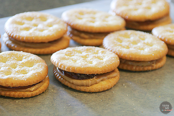 Peanut Butter and Jelly Filled Cracker Cookies