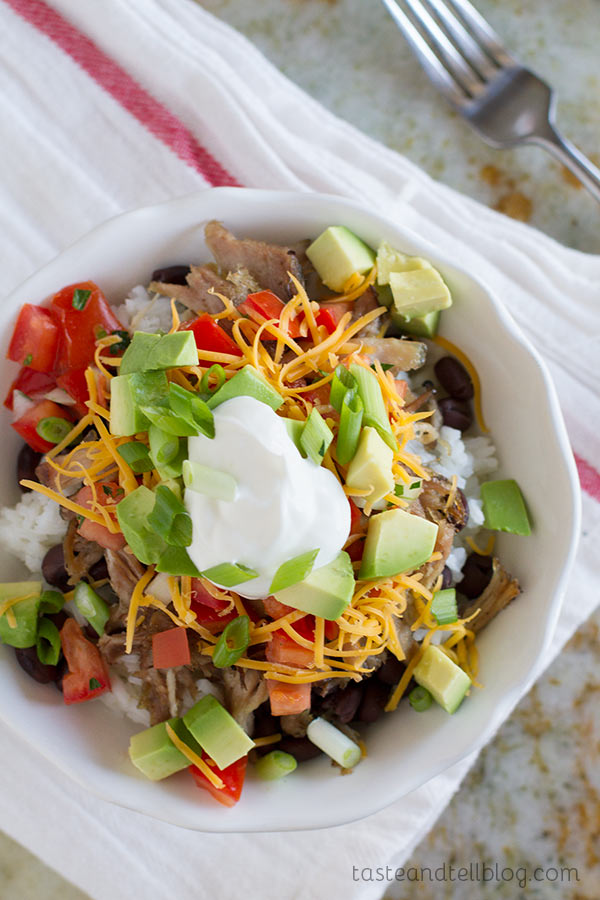 Pork Carnitas Burrito Bowl on Taste and Tell