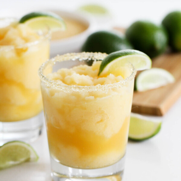 Virgin Frozen Margaritas with lime slices
