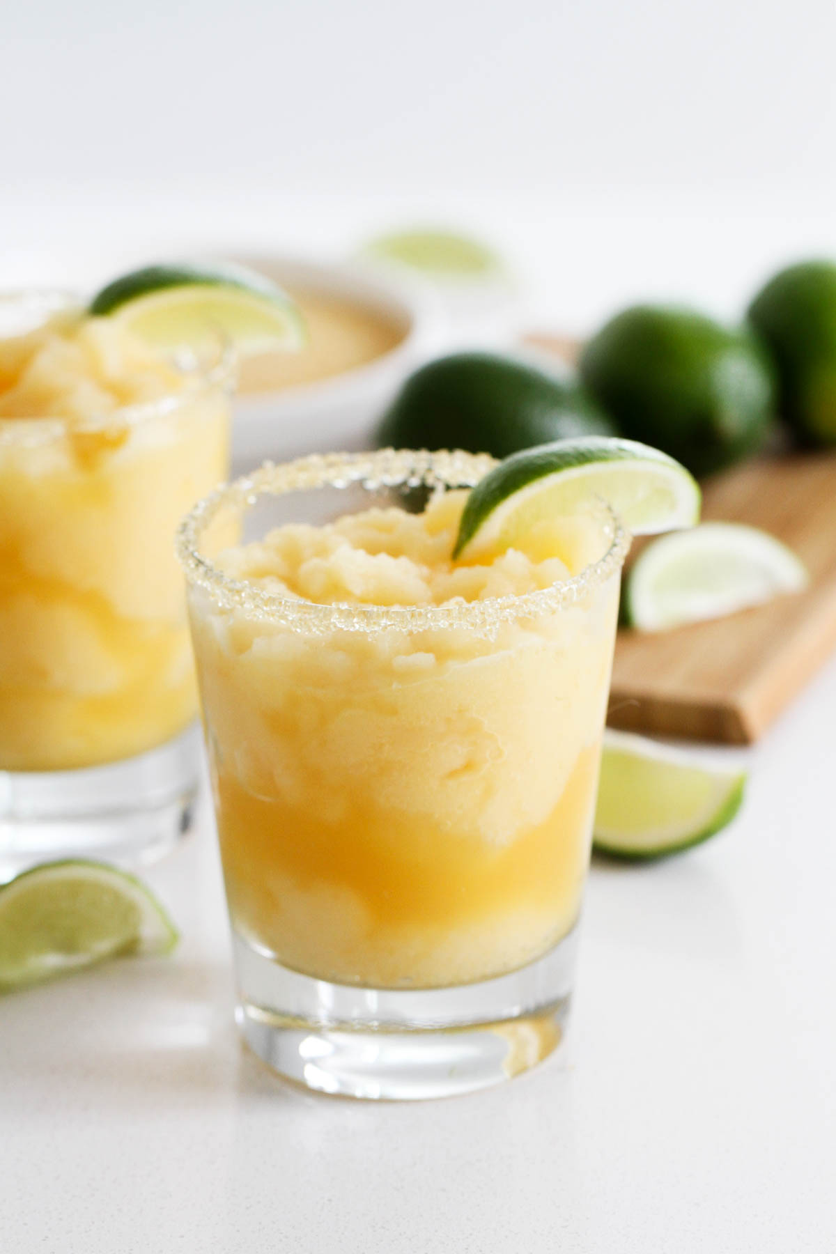 Virgin Frozen Margaritas with lime slices