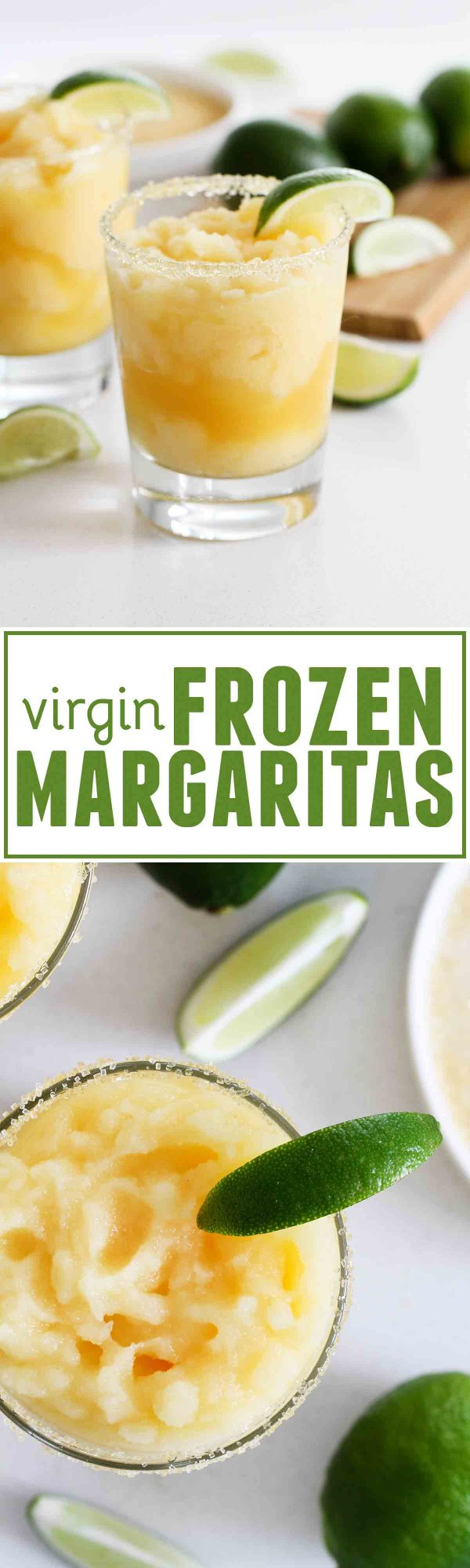 >A little bit tart, a little bit sour, and a little bit sweet, these Virgin Frozen Margaritas come together in just minutes and are super family friendly!