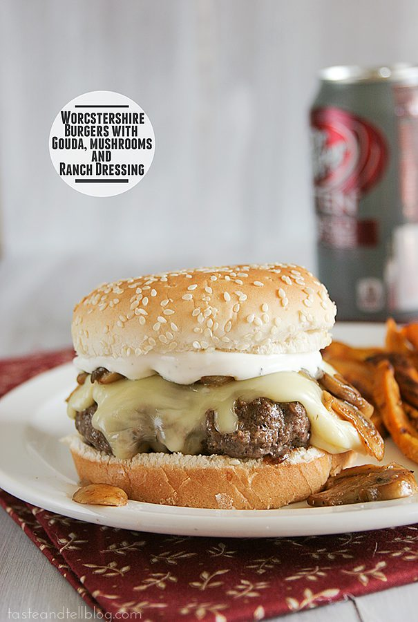 Worcestershire Burgers with Gouda, Mushrooms and Ranch Dressing | www.tasteandtellblog.com