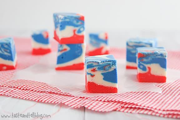 4th of July Tie Dyed Fudge | www.tasteandtellblog.com