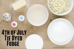 4th of July Tie Dyed Fudge Ingredients