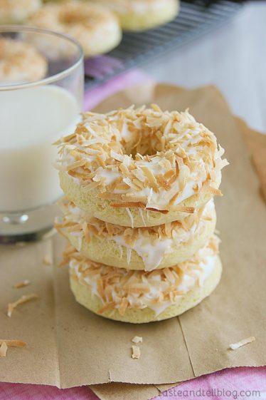 Baked Coconut Donuts | www.tasteandtellblog.com