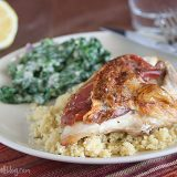 Proscuitto Stuffed Chicken with Creamed Spinach
