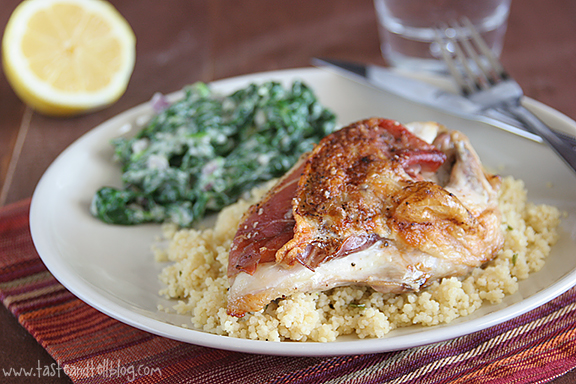 Prosciutto-Stuffed Chicken with Creamed Spinach {7 Days With Rachael Ray – Day 7}