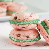Watermelon Cake Mix Cookie Sandwiches on Taste and Tell