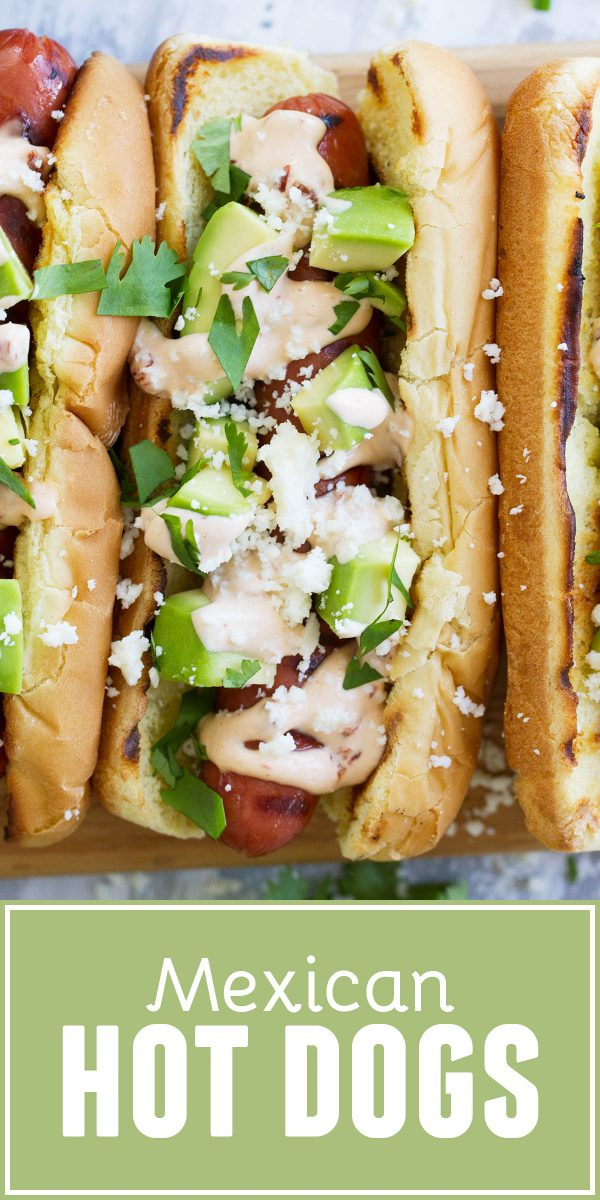 Hot dogs with Tex-Mex flair - this Mexican Hot Dog recipe gives you hot dogs topped with a chipotle mayonnaise, avocados, cheese and cilantro.