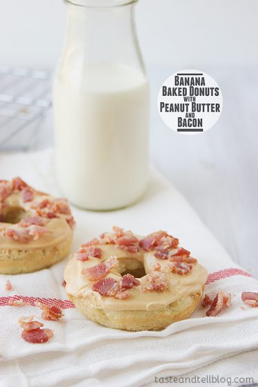 Banana Baked Donuts with Peanut Butter and Bacon from www.tasteandtellblog.com