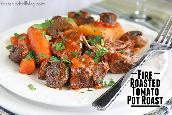 Fire Roasted Tomato Pot Roast {Slow Cooker}
