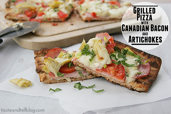 Grilled Pizza with Canadian Bacon and Artichokes