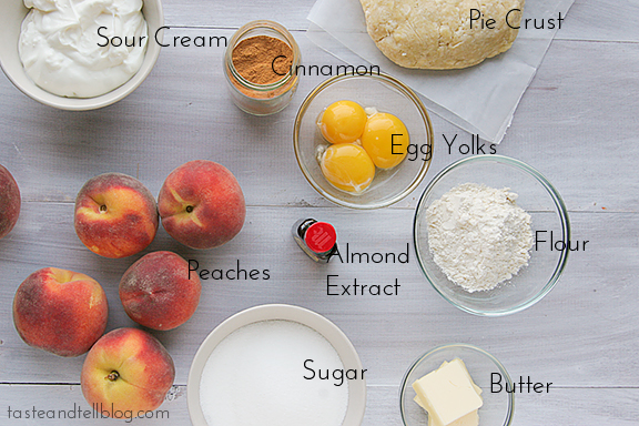 Ingredients for Sour Cream Peach Pie