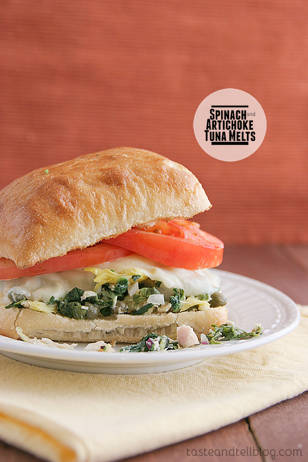 Spinach and Artichoke Tuna Melts on Taste and Tell