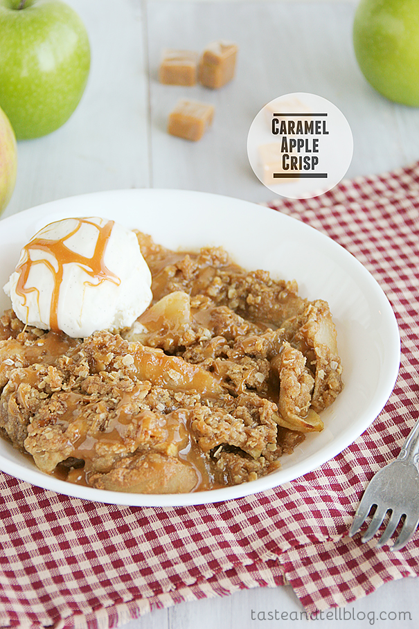 classic apple crisp gets a makeover with lots of caramel sauce ...