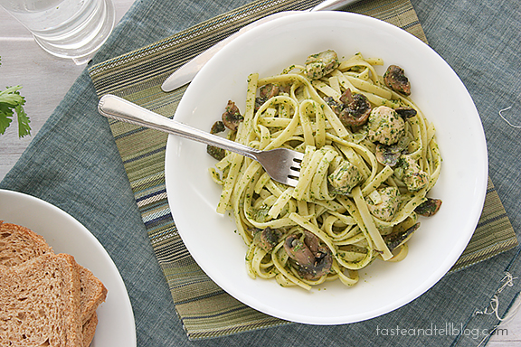Chicken and Pasta with Cilantro Pesto | www.tasteandtellblog.com