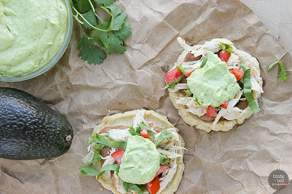 Chicken Sopes with Avocado Cream on www.tasteandtellblog.com