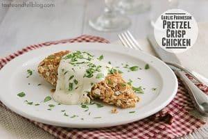 Garlic Parmesan Pretzel Crisp Chicken   www.tasteandtellblog.com