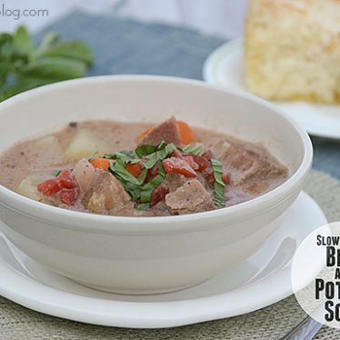 Slow Cooker Beef and Potato Soup | www.tasteandtellblog.com