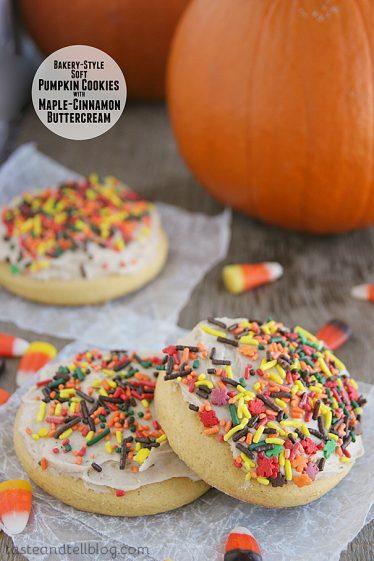 Bakery-Style Soft Pumpkin Cookies with Maple-Cinnamon Glaze | www.tasteandtellblog.com