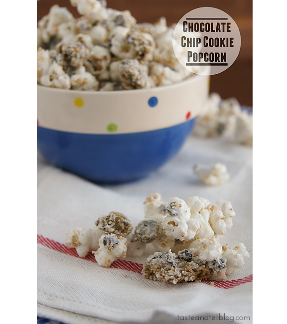 Chocolate Chip Cookie Popcorn | www.tasteandtellblog.com #recipe #popcorn