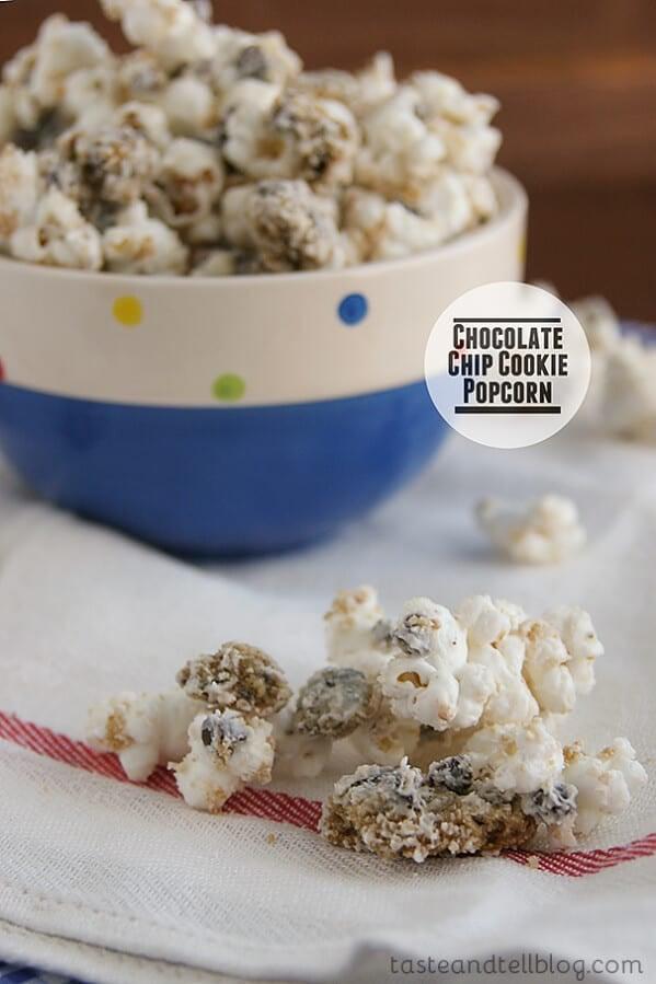 Chocolate Chip Cookie Popcorn | www.tasteandtellblog.com