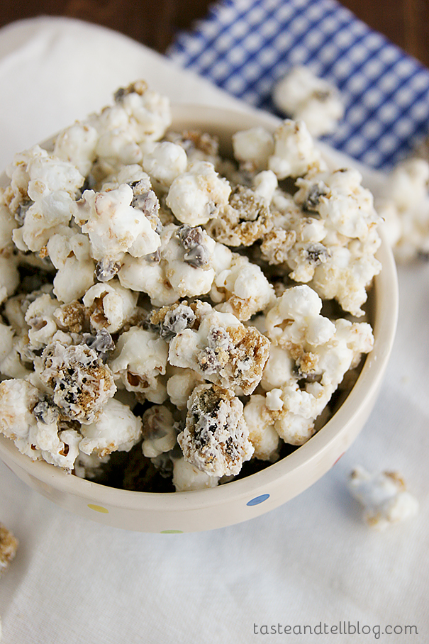 Chocolate Chip Cookie Popcorn | www.tasteandtellblog.com